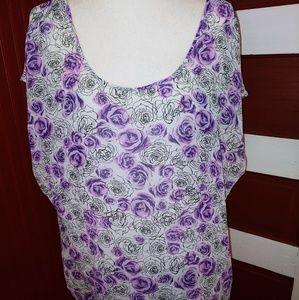 Torrid Tunic Floral Lavender Roses 1X